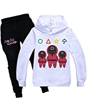 Tpiont Squid Game Hoodie Pants Set for Boys Girls Squid Korean Game Hoodie for Kids Squid Game Merch