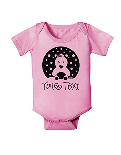 TooLoud Personalized Matching Polar Bear Family Design - Your Text Baby Romper Bodysuit - Candy Pink - 12 Months
