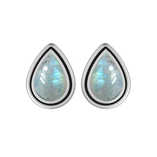 (Genuine Pear Shape Rainbow Moonstone Stud Earrings 925 Silver Overlay Handmade Jewelry For Women Girls)