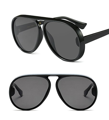Freckles Mark Fashion Aviator Sunglasses for Women Black Plastic Frame (Black, - Black Big Frames