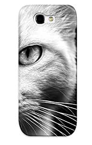 Ellent Galaxy Note 2 Case Tpu Cover Back Skin Protector Animals Cats Felines Face Eyes Whiskers Fur Black White Monochrome For Lovers