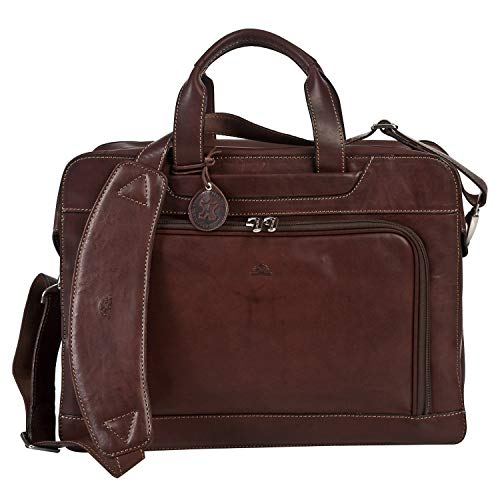 - CUSTOM PERSONALIZED INITIALS ENGRAVING Tony Perotti Mens Italian Cow Leather Napoli Laptop Zip-Around Double Compartment Leather Briefcase in Brown