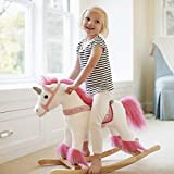 Animal Adventure | Real Wood Ride-On Plush Rocker | White and Pink Unicorn | Perfect for Ages