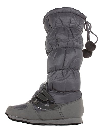 Snow 3 Size Black 8 Womens Flat Ski Sole Waterproof Rain 4 7 Winter Ladies Grey Lined 6 21 Wellies Warm Grey Style 9 Boots Wellinton Fur 5 6BwaTwq