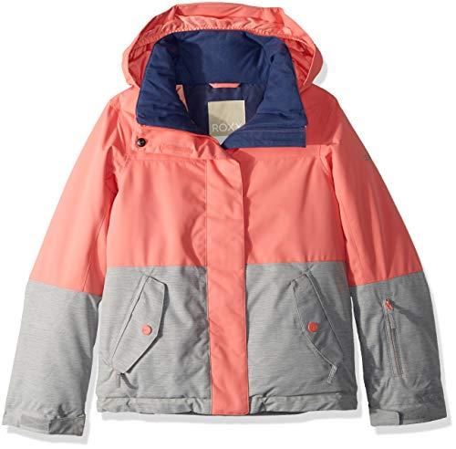 (Roxy Little Jetty Block Girl Snow Jacket, Shell Pink, 8/S )