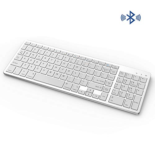 Bluetooth Keyboard, Vive Comb Rechargeable Portable BT Wireless Keyboard with Number Pad Full Size Design for Laptop Desktop PC Tablet, Windows iOS Android-White and Silver