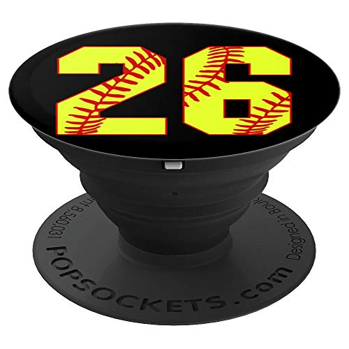 Softball #26 Fast Pitch Love Softball Mom Favorite Player PopSockets Grip and Stand for Phones and Tablets