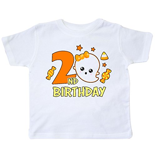 inktastic - 2nd Birthday with Ghost and Candy Toddler T-Shirt 3T White 31657