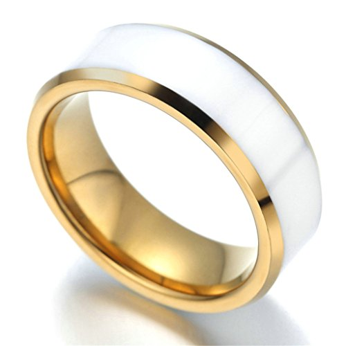 Stainless Steel Ring for Men, Band Ring Ring Gothic Gold White 7MM Size 9 Epinki