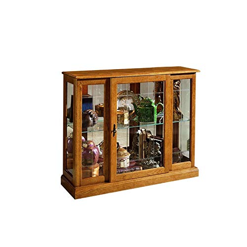 Home Fare Golden Oak Mirrored Curio Console