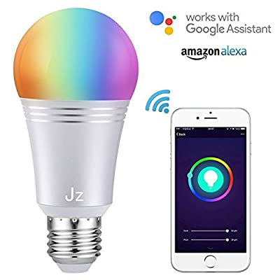 Smart Light Bulb WiFi Smart Bulb 60W Equivalent(7W) Dimmable,Multicolored RGB Night Light for Bedroom, Cafe, Kitchen, Compatible with Alexa and Google Home, No Hub Required (E27) Jz