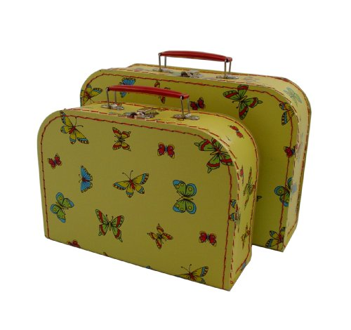 kidSTYLE Cargo Vintage Travelers Mini Suitcases, Set of 3, Butterfly Print
