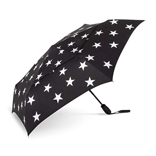 ShedRain WindPro Vented Auto Open Auto Close Compact Wind Umbrella: Five Point Silver Stars ()