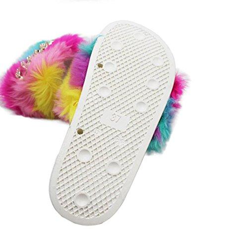 Interior de On Flip Flop Flats de Mujer Cómodo Multicolor Zapatos Slip Piel Rainbow de con Abierta Casual Zapatillas sintética caseros Punta Cadena DANDANJIE Zapatillas ypqTazy
