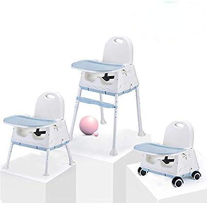 Chaise Haute, Chaise haute Portable Multifonctionnelle 3 en 1, Siège Rehausseur pour Enfant, Chaise de Biberon avec Plateau (Bleu)