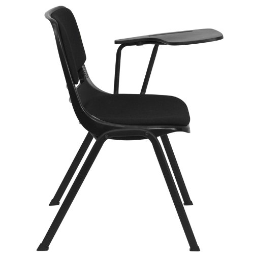 Flash Furniture Black Padded Ergonomic Shell Chair with Left Handed Flip-Up Tablet Arm