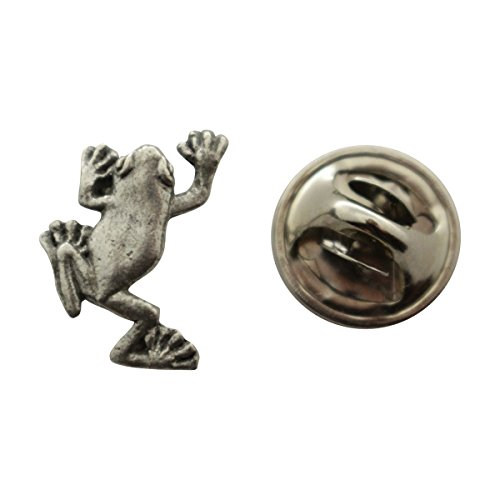 - Sarah's Treats & Treasures Tree Frog Mini Pin ~ Antiqued Pewter ~ Miniature Lapel Pin