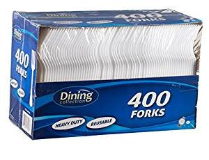 Dining Collection Heavy Duty Reusable 400 Forks. Pack Of 1. by Dining Collection