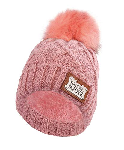 Genovega Women Winter Beanie Hat - Pink Men Women Thick Knit Knitted Warm Watch Stocking Acrylic Knit Cable Caps with Pom Pom