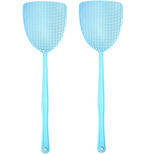Make A Bee Costume At Home (Long Handle Plastic Fly Swatter Manual Swat Pest Control with 17.5'' Durable Pack of 2 ( Blue ))