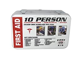 SAS Safety 6010-01 10-Person First-Aid Kit, Metal Box