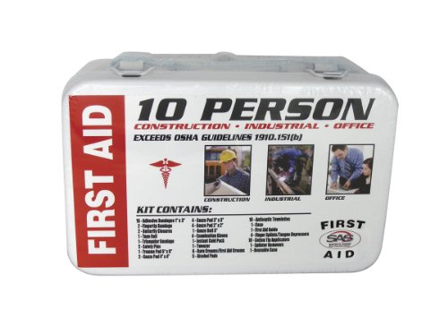 01 Wall Mount (SAS Safety 6010-01 10-Person First-Aid Kit, Metal Box)