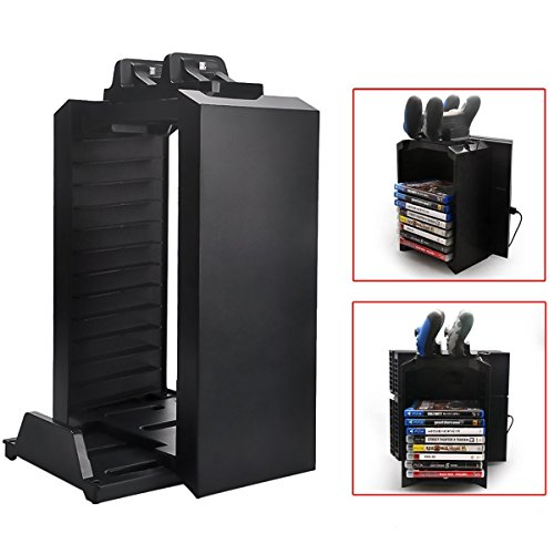Multifunctional-Detachable-Playstation-4-Storage-Stand-Kit-for-PS4-Dualshock-4-Controller-Charging-Station-and-Console-Stand-Holder