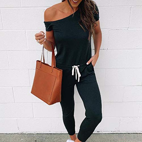 Psunrise Mono Women Summer Fashion Sexy O-Neck One Shoulder Short Sleeved Bandage Elastic Waist Pants Jumpsuits(L, Black) by Psunrise (Image #2)