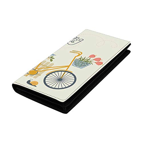 (InterestPrint Hello Spring Bicycle Flowers Bird Snail and Fence Credit Card Leather Wallet for Women, Huge Capacity)