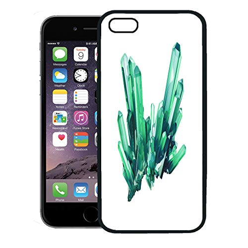 Geometric Nugget - Semtomn Phone Case for iPhone 8 Plus case Cover,Rough 3D Render Emerald Green Crystal Gem Natural Nugget Esoteric Accessory Abstract,Rubber Border Protective Case,Black