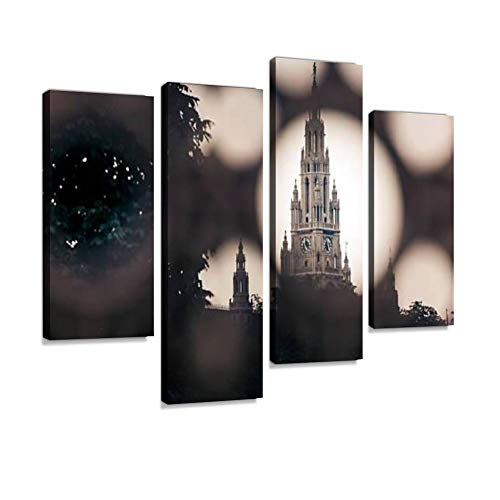 - Gothic Building Tower of Vienna City Hall Canvas Wall Art Hanging Paintings Modern Artwork Abstract Picture Prints Home Decoration Gift Unique Designed Framed 4 Panel