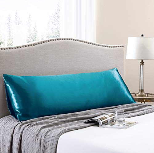 Love's cabin Body Pillow Cover, 20x54 Teal Silky Soft Satin Body Pillowcases with Envelope Closure, Body Pillow Pillowcases for Hair and Skin (Anti Wrinkle,Hypoallergenic,Wash-Resistant)