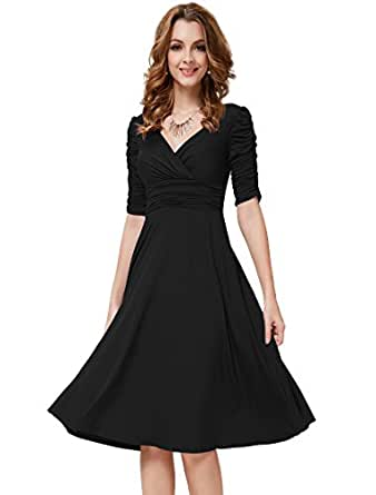 HE03632BK06, Black, 4US, Ever Pretty 3/4 Sleeve Sexy Party Dresses 03632