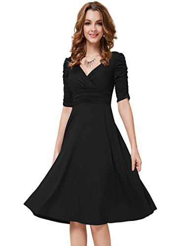 HE03632BK12, Black, 10US, Ever Pretty 3/4 Sleeve Sexy Casual Dresses 03632