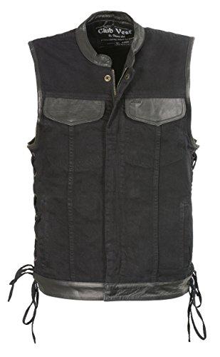 Club Vest Men's Side Lace Denim Vest w/ Leather Trim & Hidden Zipper (Black, 2X), 1 Pack