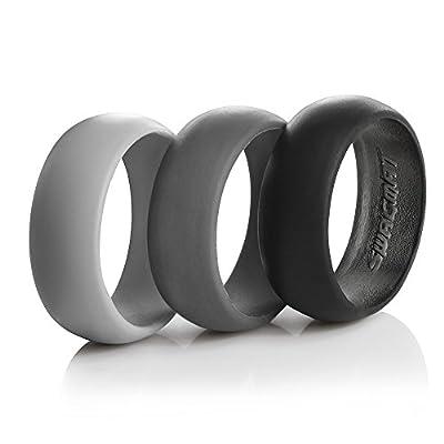 Men's Silicone Wedding Ring Bands - 3 Ring Pack - Black, Dark Grey, Light Grey