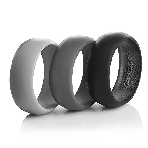 Men's Silicone Wedding Ring Bands – 3 Ring Pack – Black, Dark Grey, Light Grey