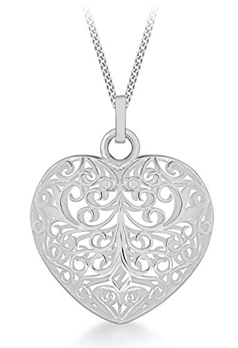 Tuscany silver sterling silver large filigree puffed heart pendant tuscany silver sterling silver large filigree puffed heart pendant on adjustable curb chain of 41cm aloadofball Choice Image