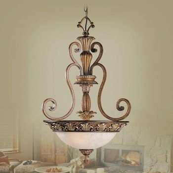 Livex Lighting 8454-57 Pendant with Vintage Carved Scavo Glass Shades, Venetian Patina
