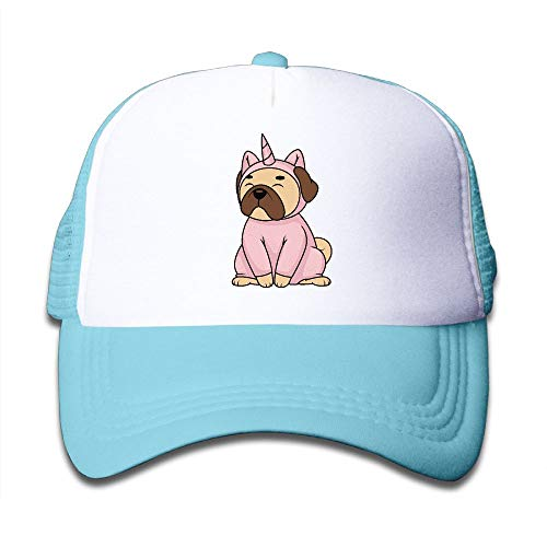 Pug Dog in Unicorn Costume On Children's Trucker Hat, Youth Toddler Mesh Hats Baseball Cap