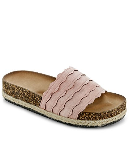 egan Scalloped Slide On Espadrilles Platform Flatform Flat Sandals Pink (6) (Espadrille Slides Sandals Shoes)