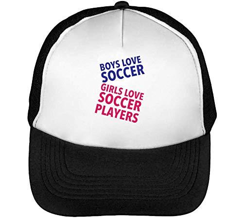 1GD Boys Soccer Girl Soccer Players Gorras Hombre Snapback Beisbol Negro Blanco