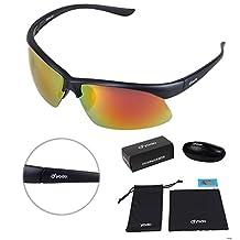 Yodo Light Polarized Sports Sunglasses for Men & Women with Case -UV400, Bright Orange