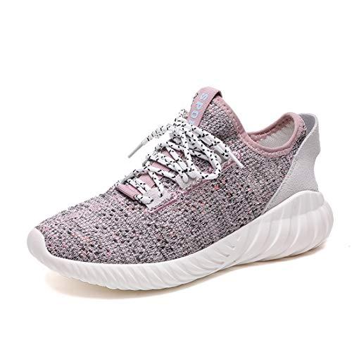 Zapatillas De Running Flyknit para Mujer, Zapatillas De Senderismo SEVENWELL Athletic Workout Zapatillas De Senderismo para Adolescentes Gilrs Rosa