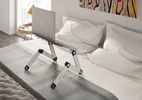 Pwr+ Portable Laptop-Table-Stand with Mouse Pad Fully Adjustable-Ergonomic Mount-Ultrabook-Macbook Light Weight Aluminum-Silver Bed Tray Desk Book Fans Up to 17