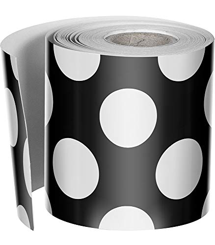 (Schoolgirl Style Rolled Straight Borders, Black with Polka Dots (108333))