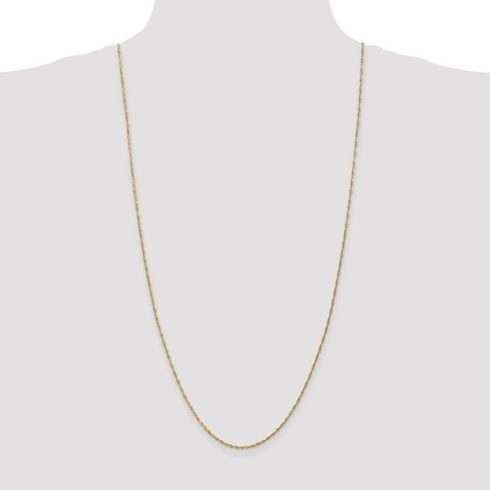 FB Jewels Solid 14K Yellow Gold 1.4mm Singapore Chain Bracelet//Anklet