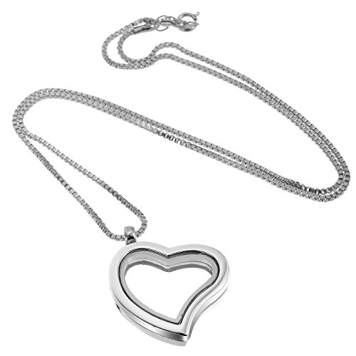 RUBYCA Living Memory Floating Charm Heart Glass Locket Pendant Necklace 20 Inches 1pcs Silver Color