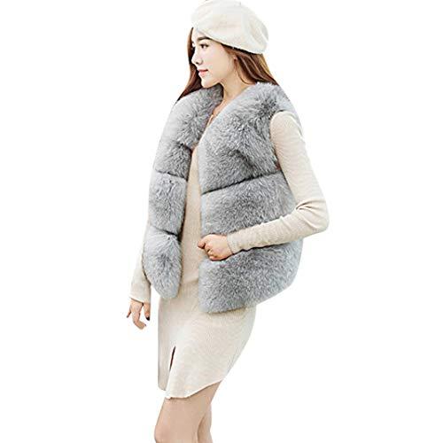 Familizo Femmes Hiver Chaud Fausse Fourrure de Fourrure de Gilet, Veste Gilet Veste Courte Outwear Coat, Gilet sans Manches en Fourrure Gris