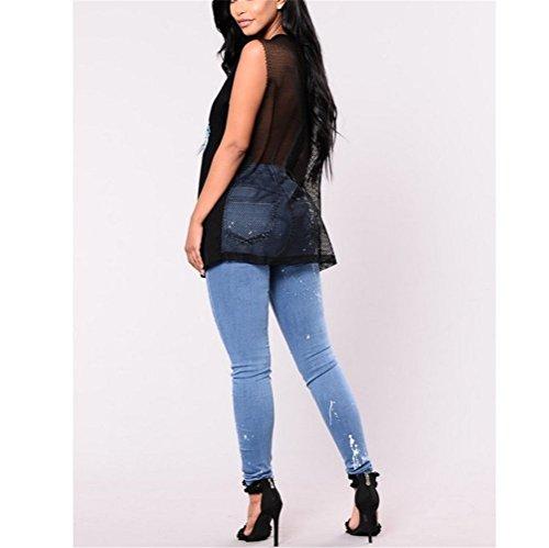 Haute Stretch Up Femme Push Pantalons Trou Dchir Bleu Taille Skinny FuweiEncore Bleu Et Jeans Slim Xq0tSWnfnw